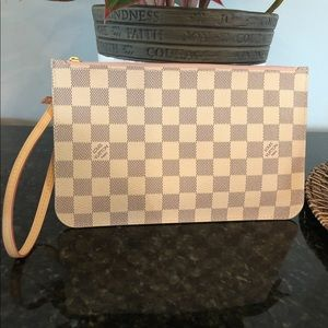 LOUIS VUITTON pouch Damier Azur with Rose interior